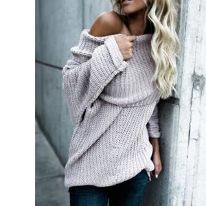 GABBY Off Shoulder Ribbed Knit Sweater